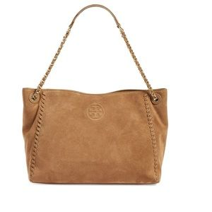 Tory Burch Marion Suede Slouchy Tote River Rock
